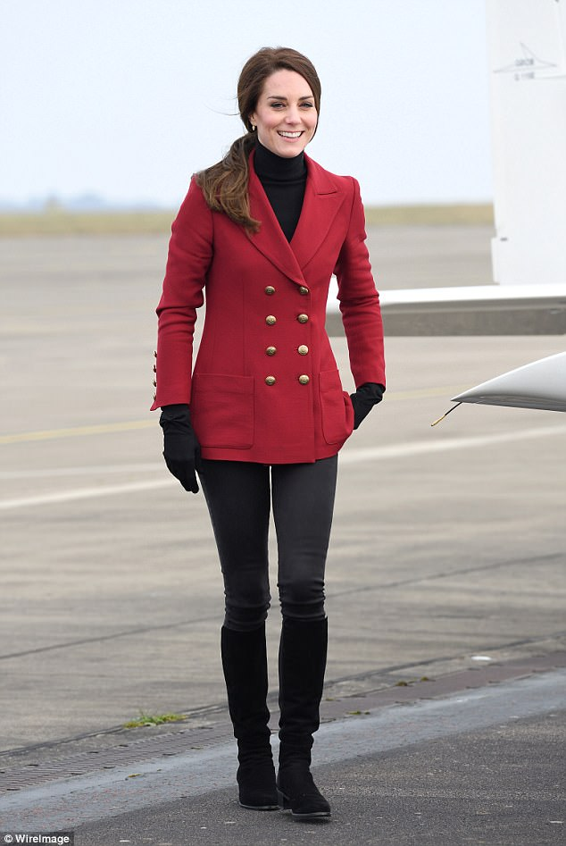 Kate sported a £760 red blazer by Philosophy di Lorenzo Serafini during a visit to the RAF Air Cadets at RAF Wittering on February 14, 2017