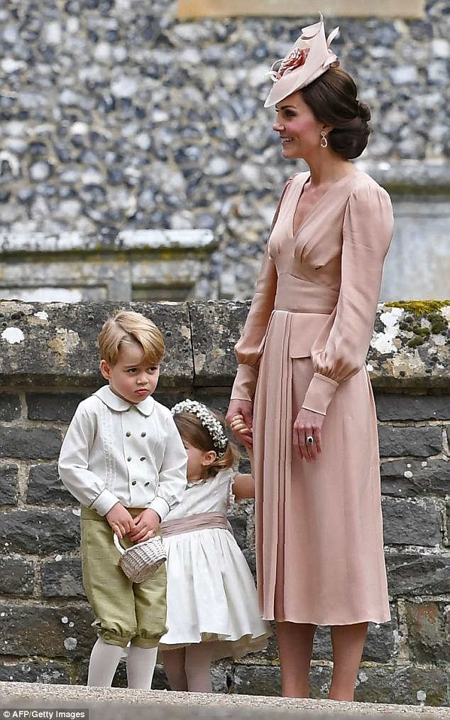 Her dusky pink Alexander McQueen dress, Kiki McDonough earrings and Jane Taylor hat set the Duchess back more than £11,000