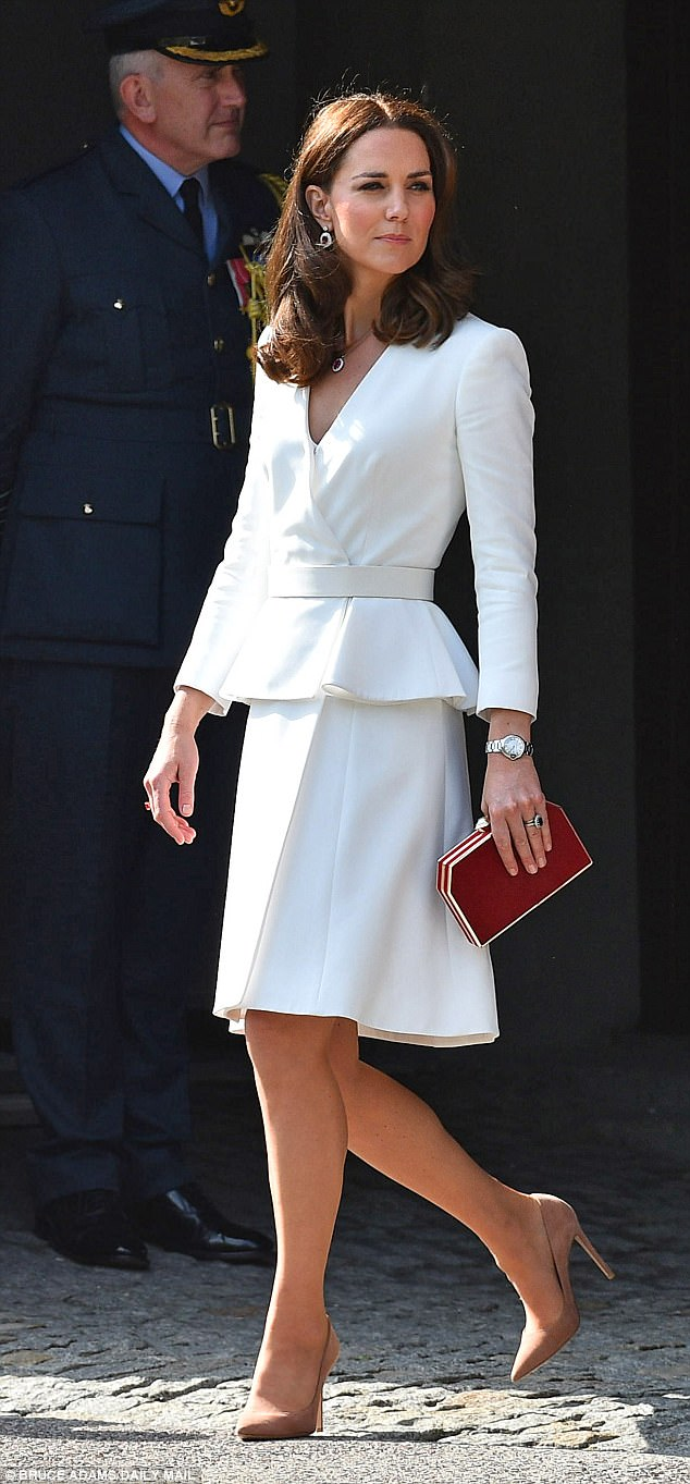 The Duchess of Cambridge made a subtle nod to the Polish flag as she touched down in Warsaw