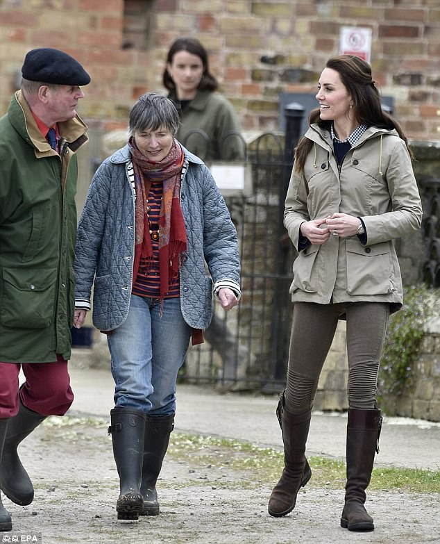Casual Kate sported only one new item during a visit to the farm in Gloucester, a £140 J Crew cashmere top