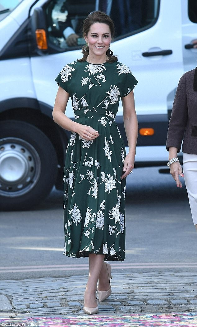 Kate was picture perfect at the Chelsea Flower show in a patterned dress by Rochas
