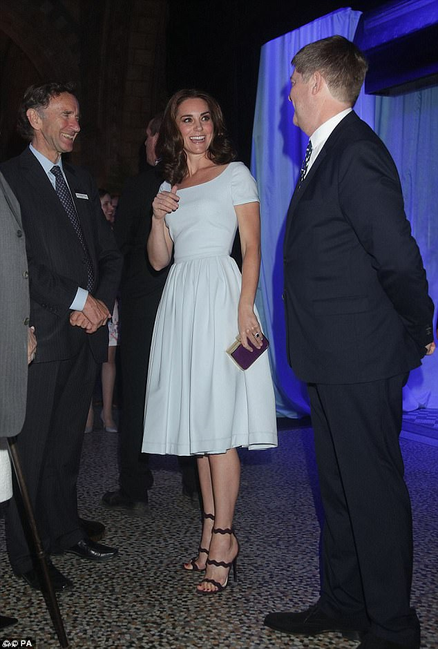 The royal donned a powder blue dress by Preen costing more than £1,000 at the Natural History Museum