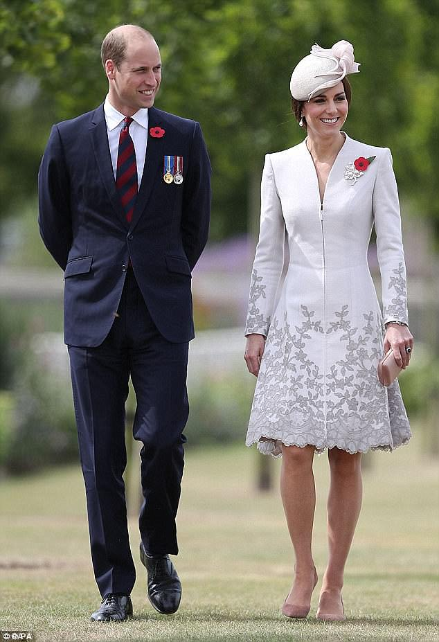 Kate struck the right note in a pale grey Catherine Walker coat dress, £2,000, as she visited the Commonwealth War Graves Commission Cemetery just outside Ypres