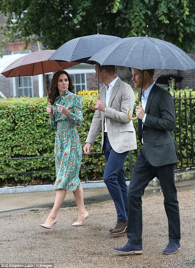 Kate wore a £1,700 silk Prada dress to visit the Princess Diana memorial garden at Kensington Palace