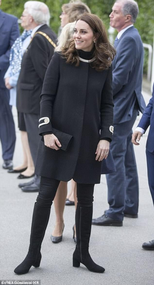 Kate wore new £325 boots from Russell & Bromley at Jaguar Land Rover