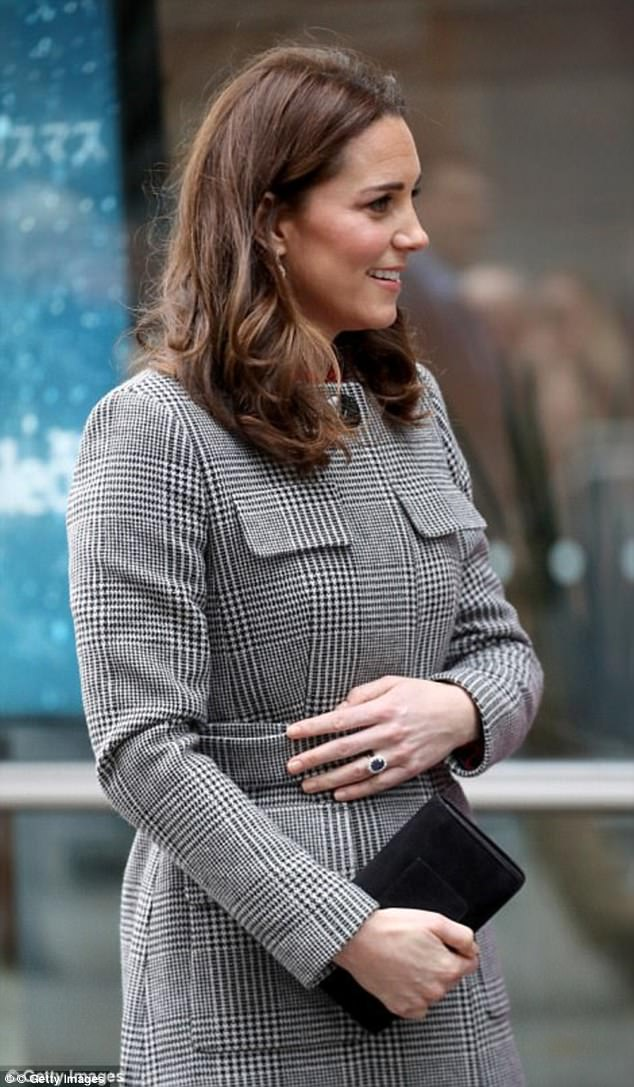 Kate arrived in Manchester covered up in a monochrome LK Bennett coat, £495