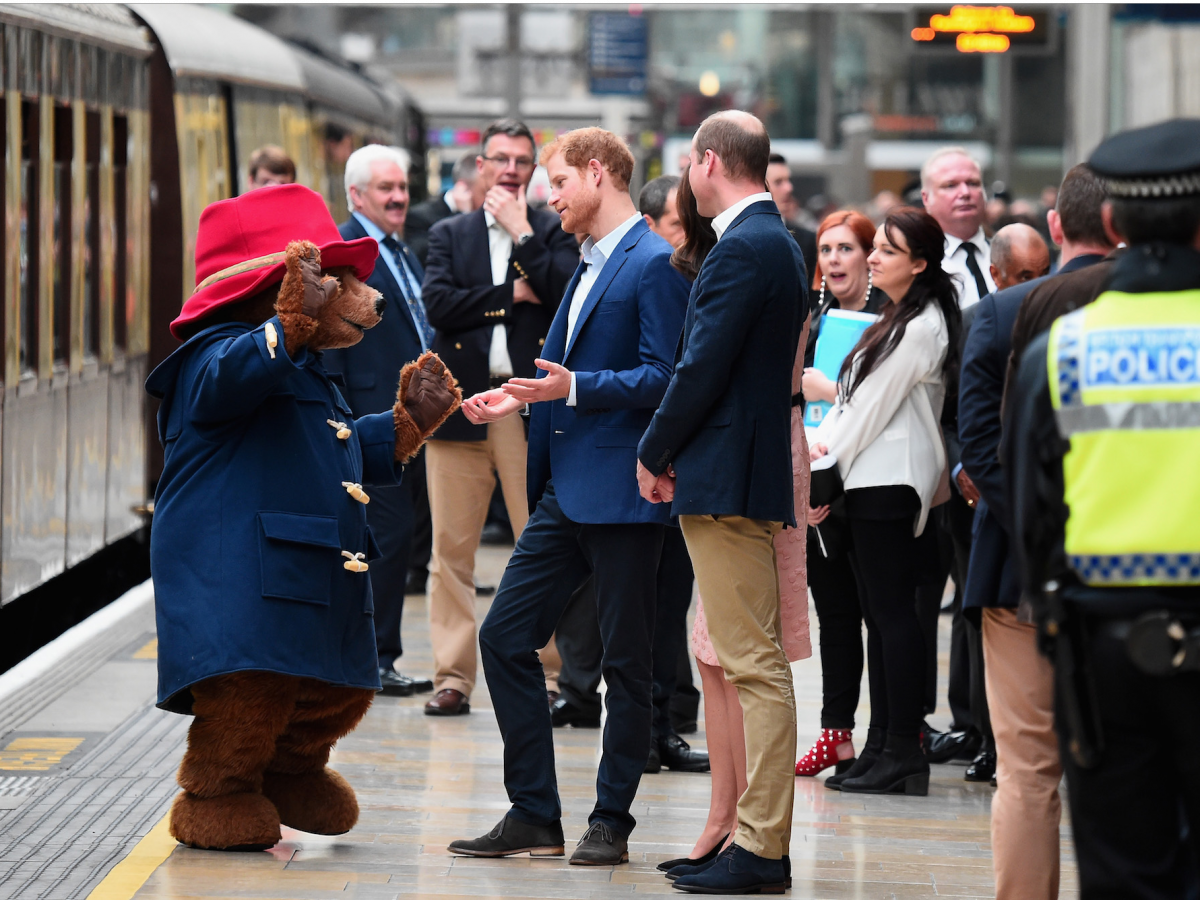And he went from babies to bears — getting to meet a larger-than-life Paddington Bear at London