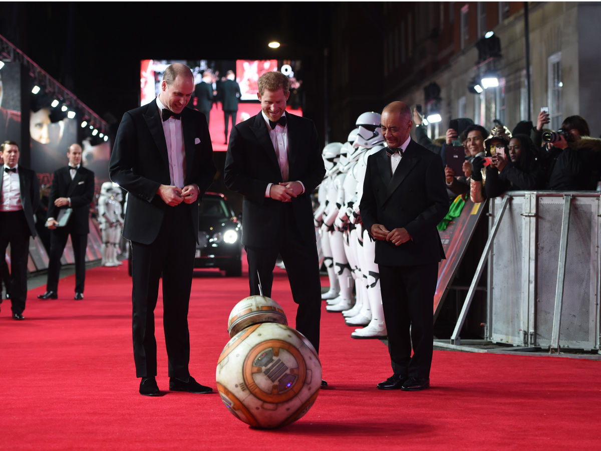 "But perhaps the most surreal royal moment of the year came at the end, at the European premiere of ""Star Wars: The Last Jedi,"" when the BB-8 robot stopped in front of William and Harry on the red carpet and gave the bemused pair a bow."