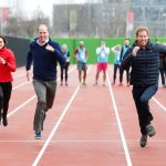 its not all relaxed though  heres all three royals making a run for it at a sports event in east london in february