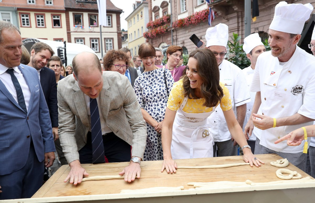 Not long after, William and Kate took a trip to Germany, and got the giggles trying to make pretzels in the town of Heidelberg.
