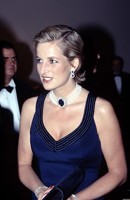 Princess Diana with slicked back hair at an event in New York