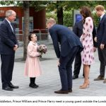 01 Kate Middleton Prince William and Prince Harry meet a young guest outside the London Eye.