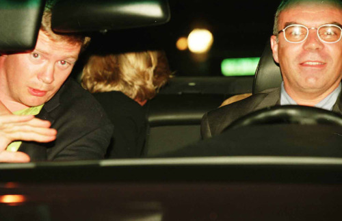 LONDON, ENGLAND - APRIL 9:  A photo taken by Jacques Langevin on the night of August 31, 1997 shows Diana Princess of Wales (head turned away in backseat), her bodyguard Trevor Rees-Jones (L) and driver Henri Paul shortly before the fatal crash which killed Diana, her companion and Henri Paul.   The photo was presented as part of the evidence at the Scott Baker Inquest into the crash, in which the jury found that Diana and Dodi had been unlawfully killed because their driver, Henri Paul and the pursuing paparazzi were reckless.   (Photo by Jacques Langevin/scottbaker-inquests.gov.uk via Getty Images)