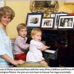 Diana Princess of Wales is pictured here with her sons Prince William and Prince Harry at the piano in Kensington Palace