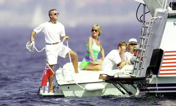 ST TROPEZ, FRANCE - JULY 17 1997: (FILE PHOTO) Diana, Princess of Wales and son HRH Prince William are seen holidaying with Dodi Al Fayed (not pictured) in St Tropez in the summer of 1997, shortly before Diana and Dodi were killed in a car crash in Paris on August 31, 1997. The inquests into both of their deaths are due to start in early 2004. (Photo by Michel Dufour/WireImage)