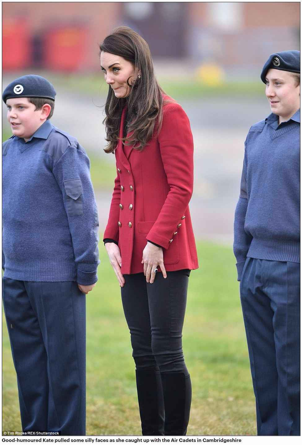 Good-humoured Kate pulled some silly faces as she caught up with the Air Cadets in Cambridgeshire