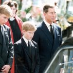 Heartbreaking William, Harry and Charles stand alongside the hearse at Diana's funeral in 1997 Photo (C) GETTY