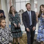 In hysterics Prince Harry Kate Middleton and Prince William laugh together at a welly wanging contest in London last October