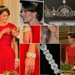 Kate Iconic Looks China State Visit Banquet Red Packham Lotus Flower Tiara October 20 2015 Photo C GETTY IMAGES