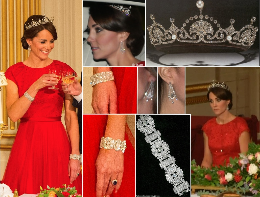 Kate Iconic Looks China State Visit Banquet Red Packham Lotus Flower Tiara October 20 2015 Photo (C) GETTY IMAGES
