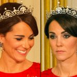 Kate State Banquet Red Packham Two Head Shots Tiara Lotus Flower October 26 2015 Photo C GETTY IMAGES