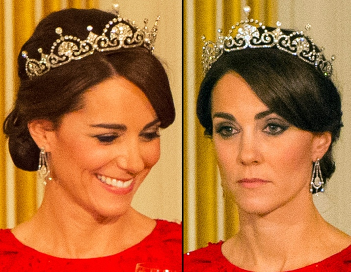Kate-State-Banquet-Red-Packham-Two-Head-Shots-Tiara-Lotus-Flower-October-26-2015 Photo (C) GETTY IMAGES