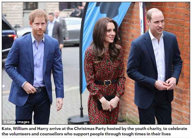 Kate, William and Harry arrive at the Christmas Party hosted by the youth charity, to celebrate the volunteers and counsellors who support people through tough times in their lives