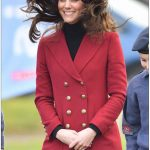 Kate experienced a hair raising moment today as her brunette locks flew