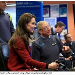 Kate had the opportunity to fly an aircraft using a flight simulator during her visit