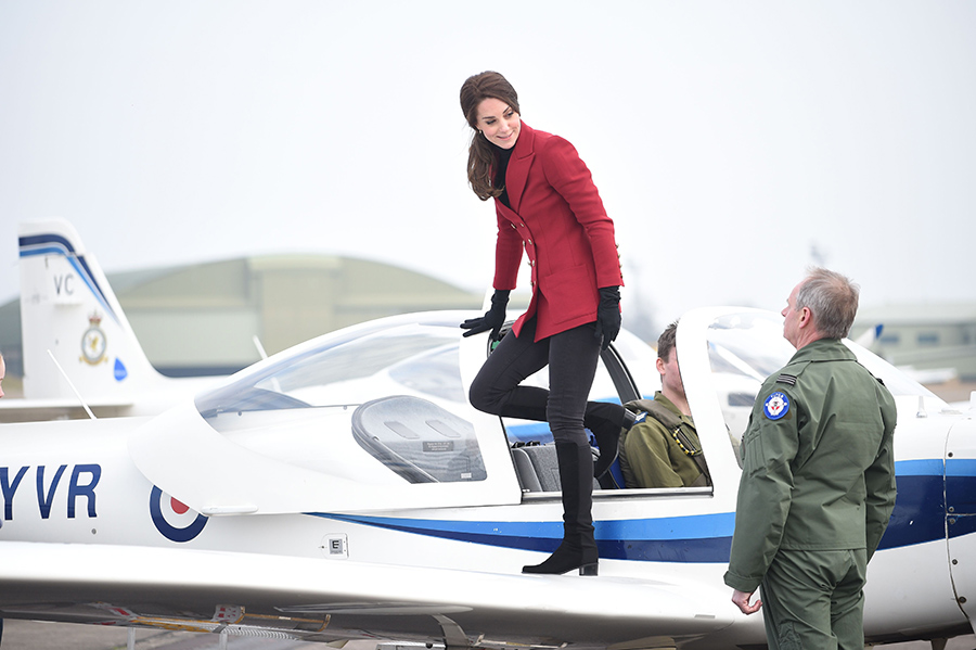 Kate hopped aboard the cockpit of a Tutor aircraft in Cambridgeshire. Photo (C) REX