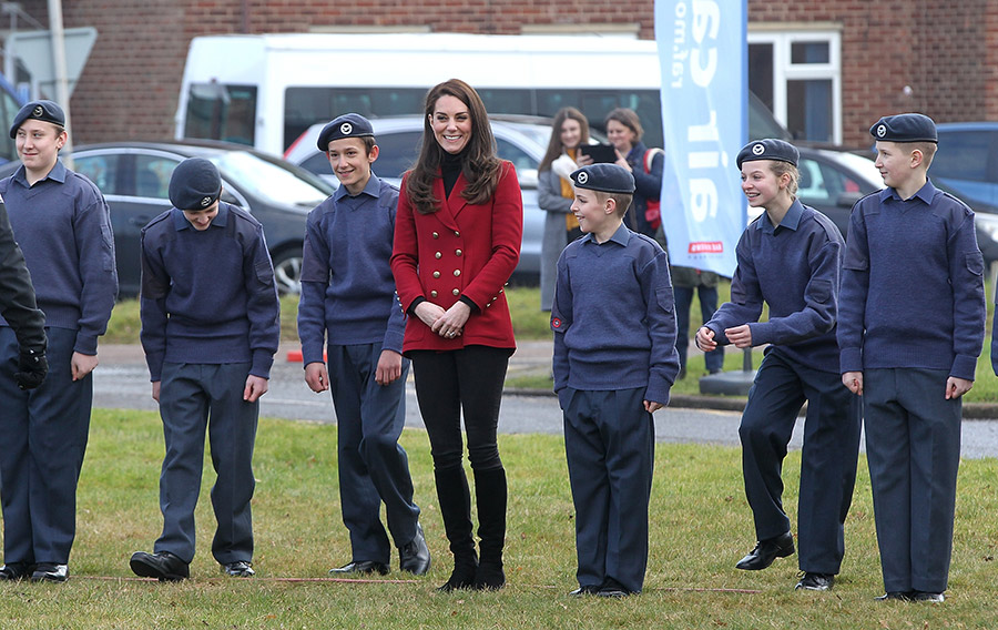 Kate met young air cadets from the Bedfordshire and Cambridgeshire Wing Air Training Corps. Photo (C) REX