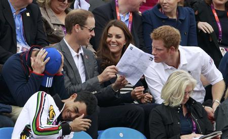 L R Britains Peter Phillips reacts as Prince William Kate Middleton Duchess of Cambridge and Prince Harry Photo C Getty Images Rex AP