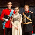 Oliver Chris as Prince William Lydia Wilson as Princess Kate and Richard Goulding as Prince Harry in Broadways King Charles III Photo C JOAN MARCUS