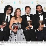 Outstanding Debut by a British Writer Director or Producer Award winners Babak Anvari Emily Leo Oliver Roskill and Lucan Toh pose in the winners room