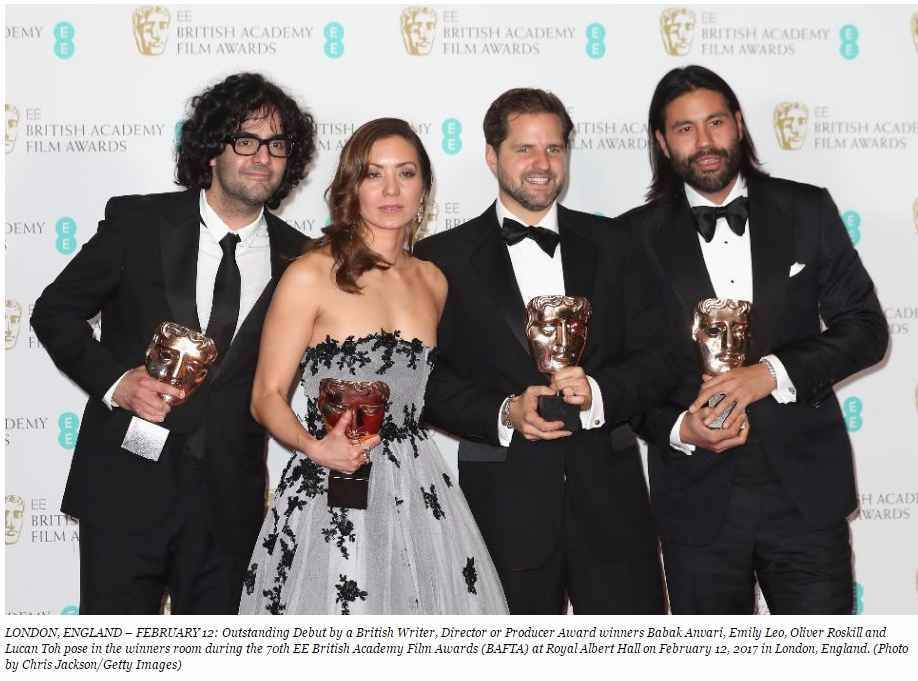 Outstanding Debut by a British Writer, Director or Producer Award winners Babak Anvari, Emily Leo, Oliver Roskill and Lucan Toh pose in the winners room