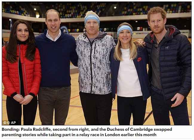 Paula Radcliffe second from right and the Duchess of Cambridge swapped parenting stories while taking part in a relay race in London earlier this month
