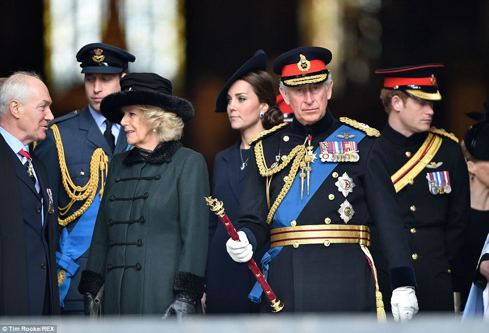Prince Charles dressed in full regalia leaves the cathedral with his sons Prince William and Prince Harry daughter in law Kate and his wife the Duchess of Cornwall