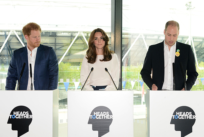 Prince Harry, Kate and Prince William will speak at a Heads Together reception Photo (C) GETTY IMAGES