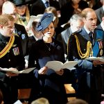 Prince Harry who served in two tours of Afghanistan stands with his sister in law Kate and brother Prince William during the commemoration