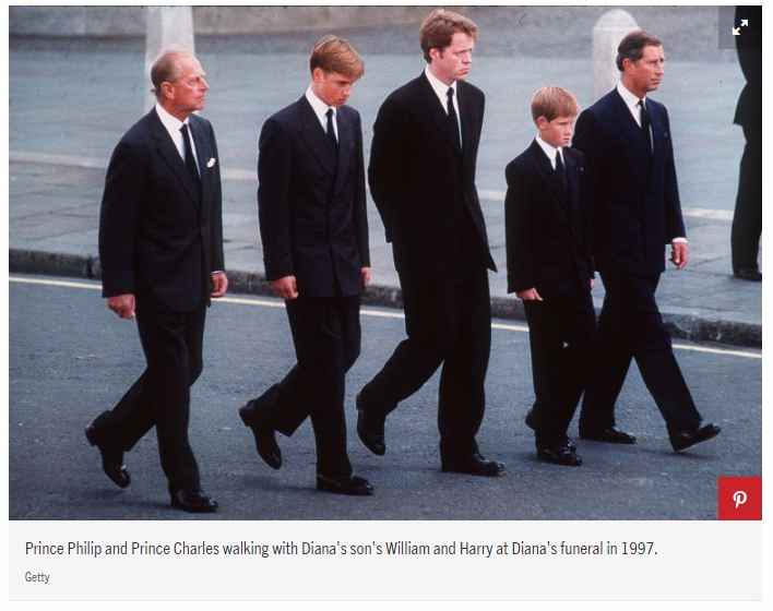 Prince Philip and Prince Charles walking with Diana's son's William and Harry at Diana's funeral in 1997