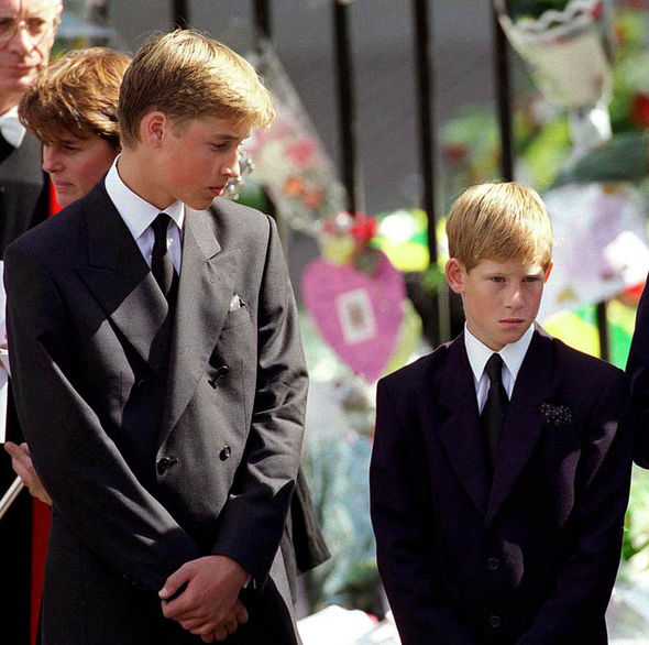 Prince William and Prince Harry during Diana's funeral Photo (C) GETTY