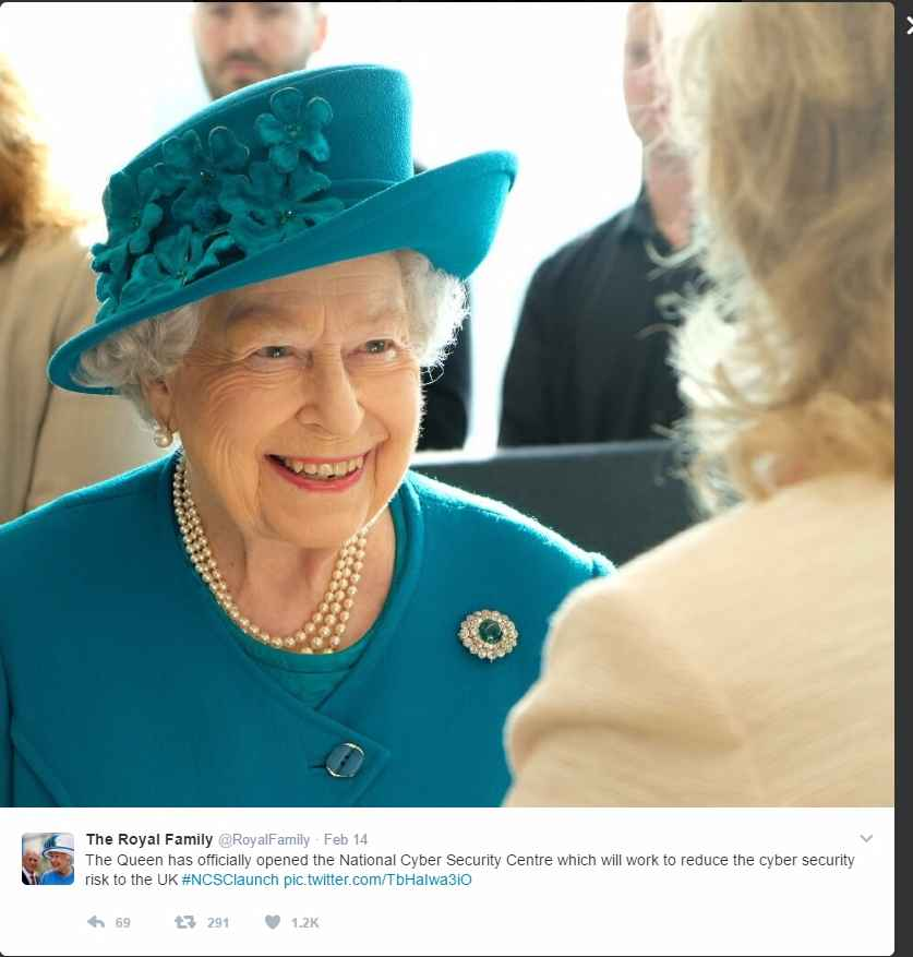 Queen Elizabeth opens cyber security office to protect UK Photo C TWITTER