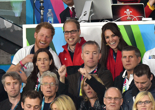 Sporty Prince Harry, Prince William and Duchess Kate attended the Rugby World Cup opening ceremony last week Photo (C) GETTY IMAGES