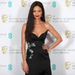 Thandie Newton opted for a strapless black gown Photo C REUTERS