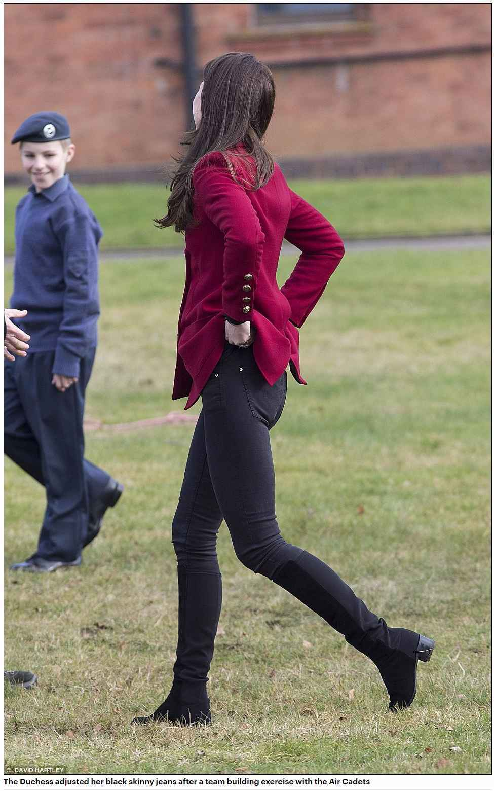 The Duchess adjusted her black skinny jeans after a team building exercise with the Air Cadets