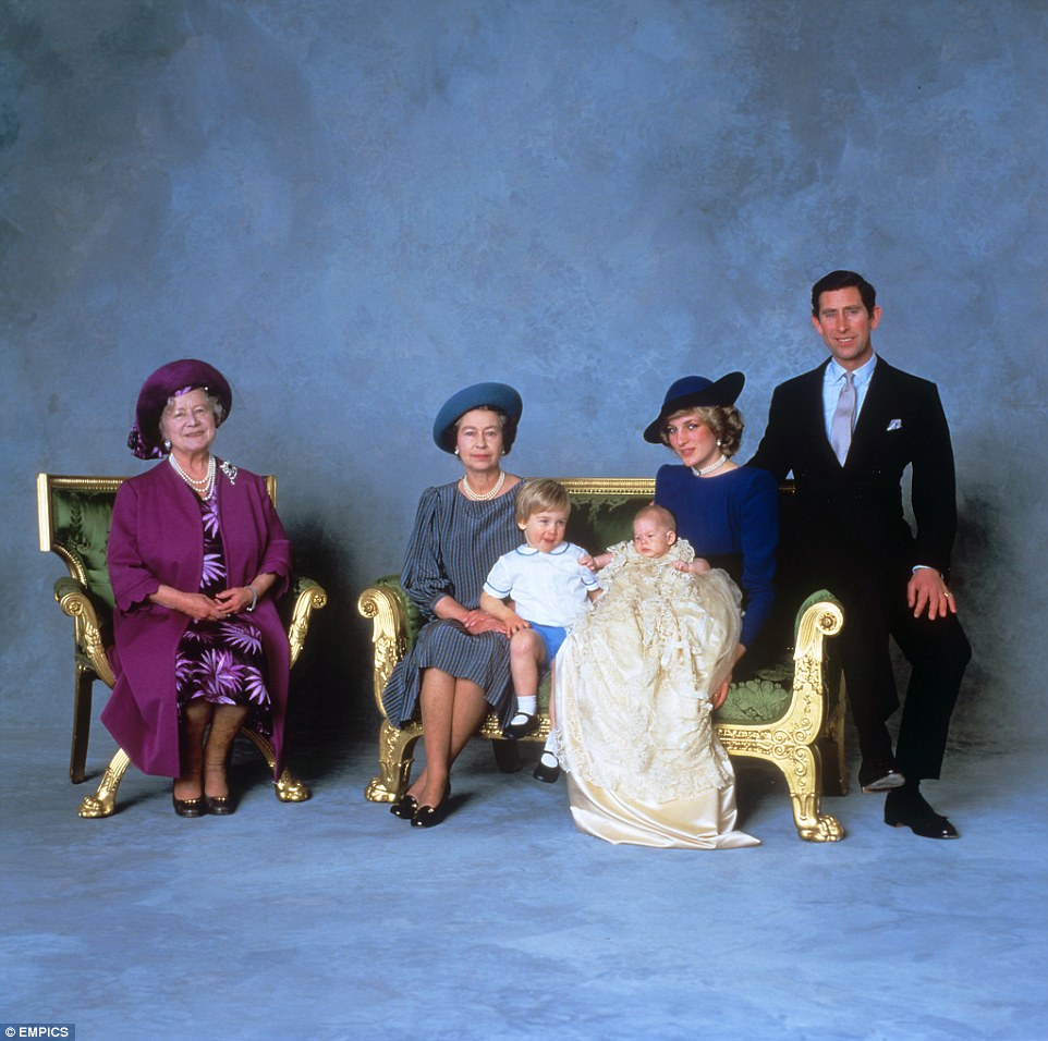 The Prince wore the outfit while pictured with from left the Queen Mother the Queen Prince Harry Princess Diana and Prince Charles