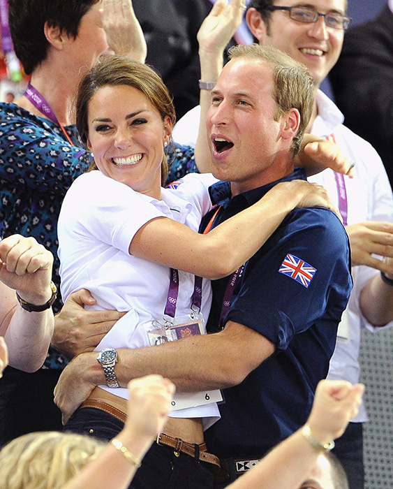 The couple shared a loving embrace while cheering on Team GB at London 2012 Photo (C) GETTY