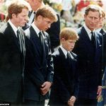 The young princes their father Charles and Earl Spencer Dianas brother left look on as Dianas coffin passes Photo C UNKNOWN