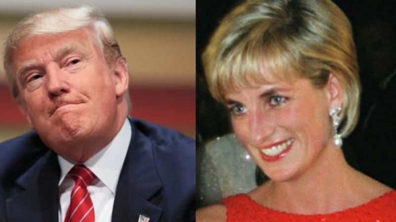 US Presidential hoepful Donald Trump and Princess Diana. (Photo AP)
