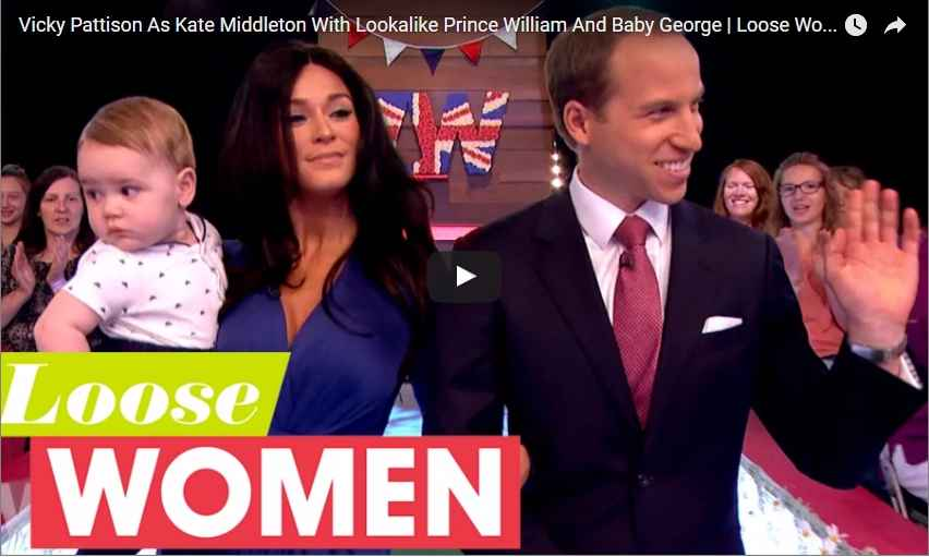Vicky Pattison As Kate Middleton With Lookalike Prince William And Baby George Loose Women